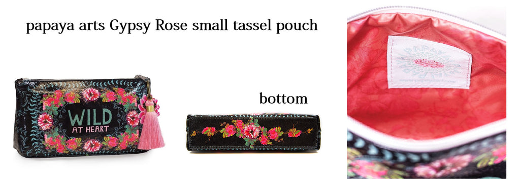 papaya arts gypsy rose wild at heart black pink mint cute floral make up bag travel small tassel pouch unique gift chick sticks sale