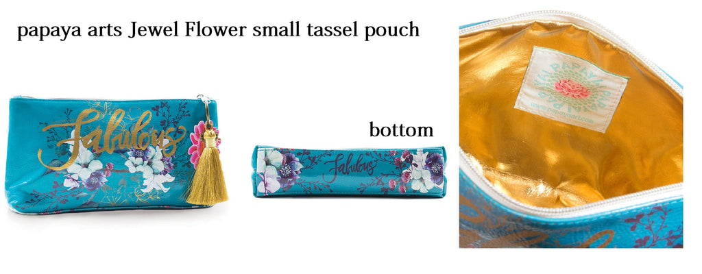 papaya arts jewel flower turquoise colorful gold floral tropical fabulous inspirational make up small travel tote tassel pouch sale chick sticks