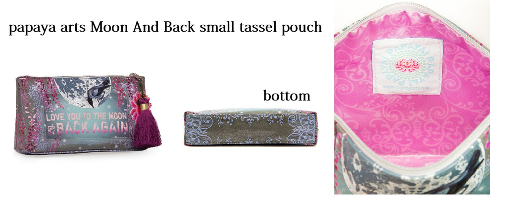 papaya arts love you to the moon and back inspiration childrens quote raven bird purple glitter pink grey lace blue mage make up bag chick sticks sale