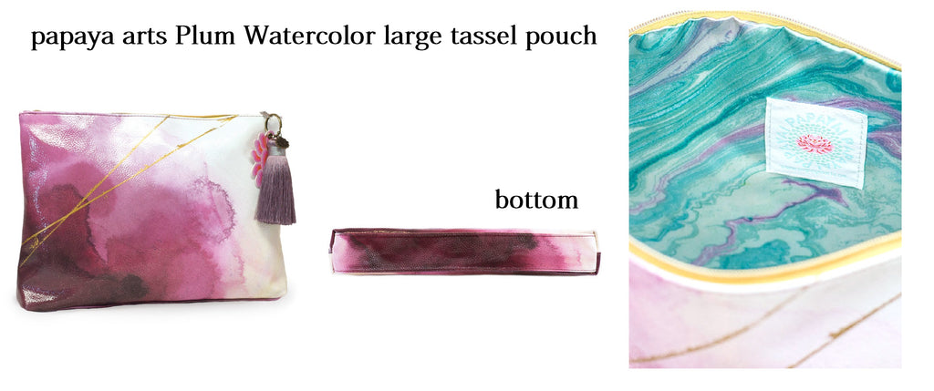 papaya arts plum watercolor artsy unique gold pink mauve purple violet large ipad make up tassel pouch overnight bag travel chick sticks sale
