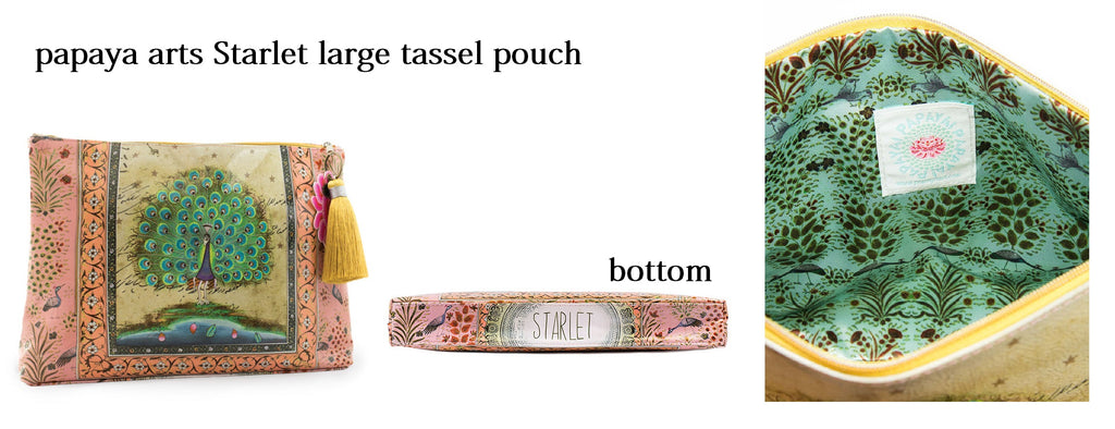 papaya arts starlet beautiful peacock large tassel pouch make up bag classy unique animal travel purse ipad work school oversized carry all colorful chick sticks sale