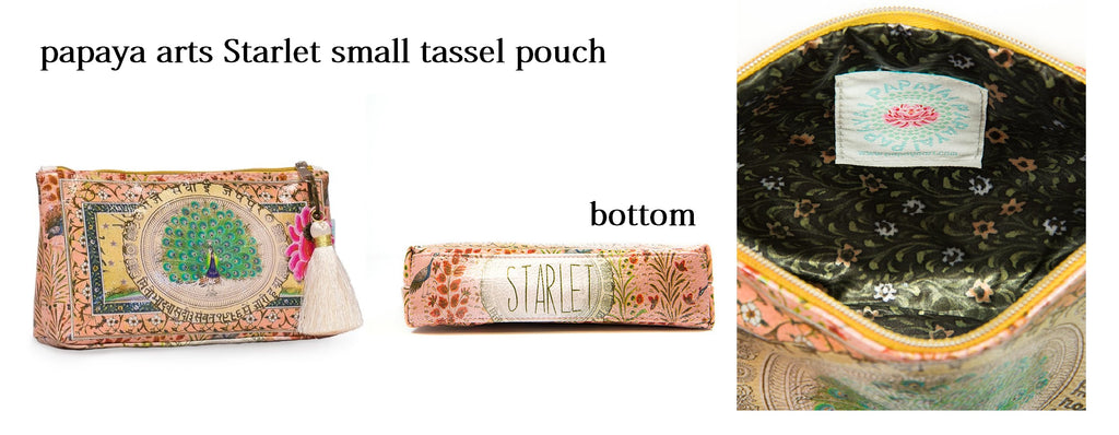 papaya arts starlet beautiful peacock small tassel pouch make up bag classy unique animal travel purse colorful chick sticks sale