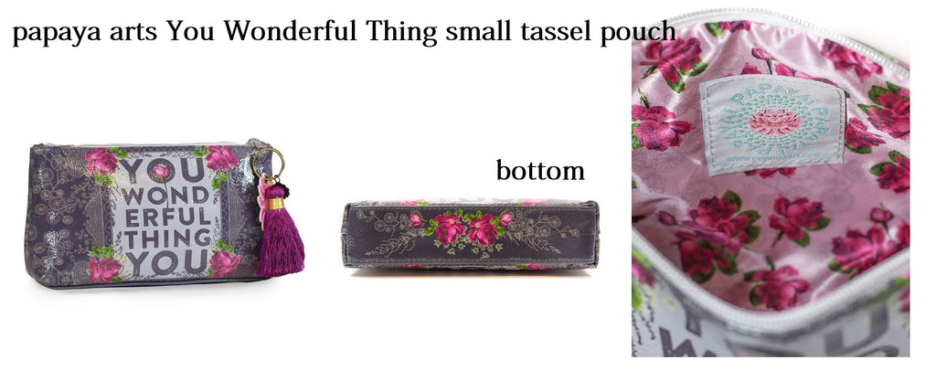 papaya arts you wonderful thing you inspiration love make up bag small tassel pouch plum pink grey purple steel unique gift chick sticks sale