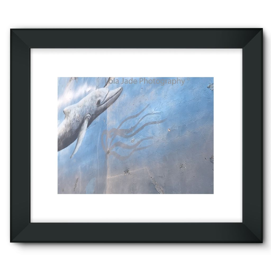 Dolphin Art. Oceanside Pier. Dolphin Artwork. Oceanside Pier. Oceanside, Califronia Framed Fine Art Print - 6 SIZES - CHOOSE BLACK OR WHITE FRAME WITH MATTE