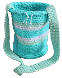 CHICK STICKS GIRL BY LOLA JADE HAND MADE IN SO CAL OCEAN PEACE SURFER SKATER BUCKET BAG OCEAN COLORS