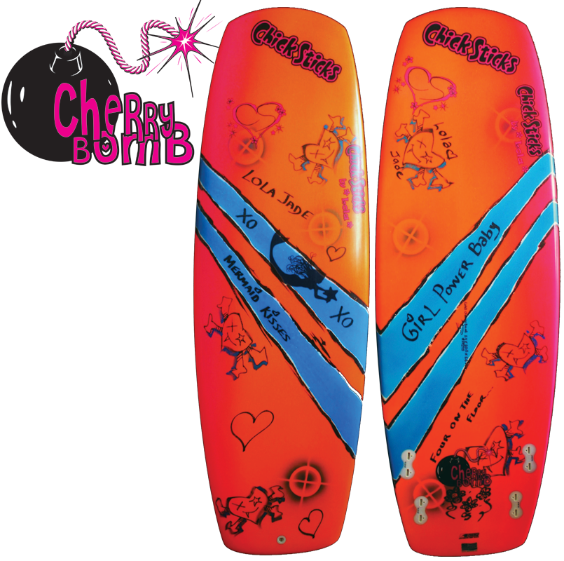 Chick Sticks Cherry Bomb ♥ Girls Surfboard Performance Quad Planing Hull - 5' 6""