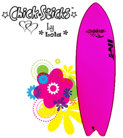 Chick Sticks by Lola Soft Top Painted Fiberglass Hard Bottom Surfboard Foamies ~ 4 Shapes
