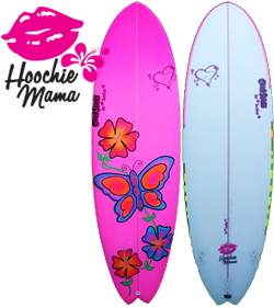 girls womens painted hand made best surfboard chick sticks hoochie mama beginner shape lola jade brand