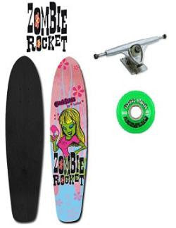 Chick Sticks Zombie Rocket Skate Deck or Complete Set Up girls long board skateboard zombie girl graphic iron horse funner 70 mm neon green skate wheels buck silver randal trucks atm fast as hell bearing pink blue flowers green skull zombie girl face blinged out longboard 38 inch x 8 inch skateboard