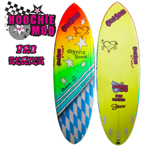 Girls Surfboards Chick Sticks Pro Series 5 Five Fin Option Hoochie Mod Fun Shape intermediate advanced surfers easy paddle shimmer glitter stringerless eps fast