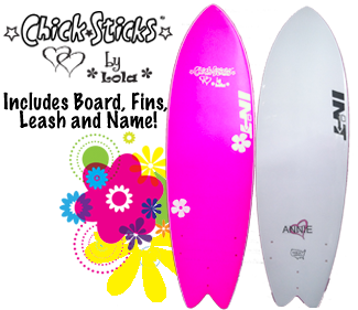 chick sticks by lola complete surfer girl first surfboard package 5.10 fish shape soft top foamie surfboard with fins leash and name all for only $370