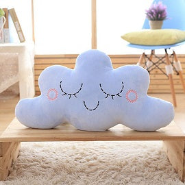 Smiling Happy Cloud Pillow for Children's Room or Home Decoration - Blue or Pink