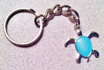 get back designs aqua blue sea turtle key chain silver 3 1/2 inches long for surfers and ocean lovers from chick sticks so cal surf shop