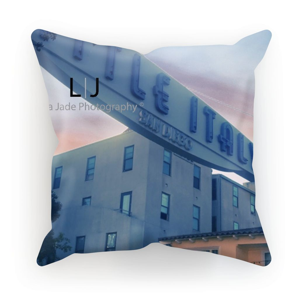 Cushion - Little Italy San Diego California Choose from Linen, Canvas or Faux Suede