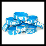 blue white i love boobies bracelets authentic