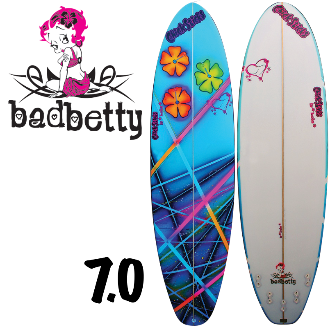 womens girls painted hand shaped usa made best surfboards chick sticks bad betty 7.0 mini longboard lola jade brand
