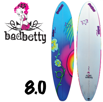 womens girls hand shaped painted usa made surfboards chick sticks bad betty 8 foot mini longboard lola jade brand