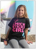 Chick Sticks Girl Tee Shirt or Long Sleeve Thermal ~ Black 100% Cotton Printed Both Sides