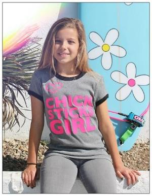 Chick Sticks Girl Ringer Top ~ Black / Grey 100% Cotton Printed Both Sides