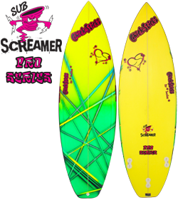 chick sticks sub screamer small wave performance thruster surfboard lola jades brands oceanside ca eps stringerless epoxy