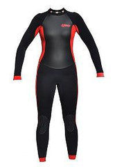 Exceed Essence 3/2 Girls Full Wetsuit ~ Black Red Glitter Flowers