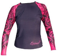 Exceed Ease Long Sleeve Girls Rash Guard  Fuschia and Black Tribal, Hearts and Glitter