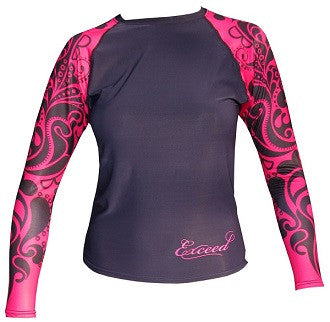 Exceed Ease Long Sleeve Girls Rash Guard ~ Fuschia and Black Tribal, Hearts and Glitter