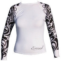 Exceed Ease Long Sleeve Girls Rash Guard White and Black Tribal, Hearts and Glitter