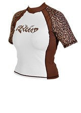 Exceed Enrage Short Sleeve Womens girls ladies juniors Rash Guard cheetah leopard animal print brown and white sexy fun edgy sparkle glitter ink girly tomboy size small med large xl 1xl 2xl swim surf dive uv protection