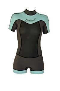 exceed enticing boy cut super cute surfing swiming raft sup water ladies shorty wetsuit teal mint black cute front