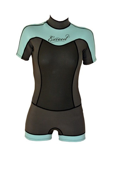 Exceed Enticing Boy Cut Shorty Girls Wetsuit ~ Black and Mint