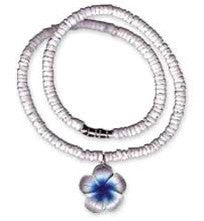 Get Back Designs Blue Plumeria Flower Necklace