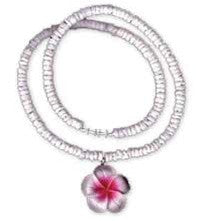 Get Back Designs Puka Shell Pink Plumeria Flower Surfer Necklace