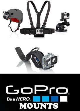 Go Pro Mounts for all Cameras Hero - Hero3 - Hero3+ surk skate bike motocross snow board