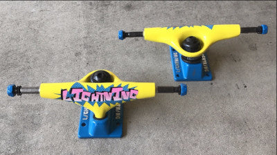 lightning pop blue yellow pink skateboard trucks 5 inch wholesale component pricing limited edition discontinued pricing chick sticks skate shop