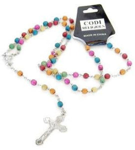Little mini colored wood beads in multi colors adorn these sweet Rosarys great gift for ten bucks