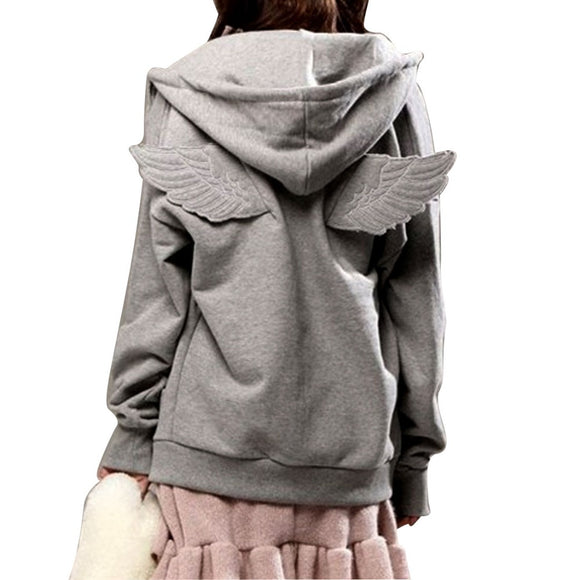 2017 Autumn Winter Harajuku Hoodies Women with Angel Wings Hooded Lovely Kawaii Zipper Sweatshirt Long Sleeve Gray Black Color