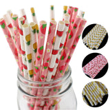 25pcs/lot Hot Sale Paper Drinking Straw Pineapple Lemon Fruit Hawaii Party Straw for Birthday Party Decoration Wedding Decor
