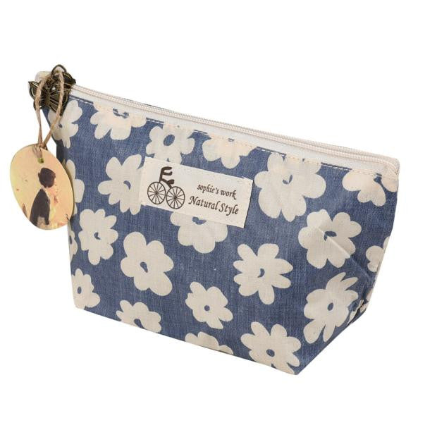 Cute Cotton Zippered Floral Lightweight Makeup Cosmetic Bag