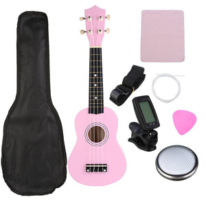 "21"" Pink Soprano Basswood Ukulele Uke Hawaii Bass Guitar Guitarra Musical Instruments Set Kits+Tuner+Strings+Strap+Case"