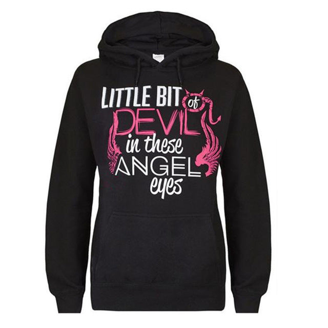 DEVIL IN THIS ANGEL EYES Printed Black Hoodie New Fashion Autumn Winter Casual Women Hoodies Long Sleeve Sweatshirts