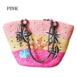 QICAIYANZI Summer 2017 Women Hawaii Holiday Beach Shoulder Bags Lady Starfish Straw Handbags Mujer Colorful Beads Totes P635