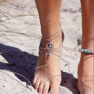Vintage Bohemian Hollow Out Tassels Multilayer Turquoise Anklet
