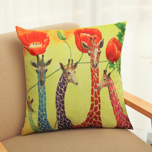 Linen Square Throw Friendly Giraffe Family Pillow Case Decorative Cushion Cover