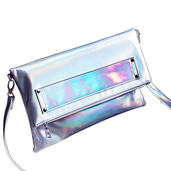 Chic Hologram PU Leather Shoulder Bag Cross-body (Silver)