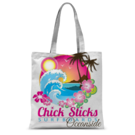 Chick Sticks Surfboards Oceanside California Beach Book Shopping Tote Bag