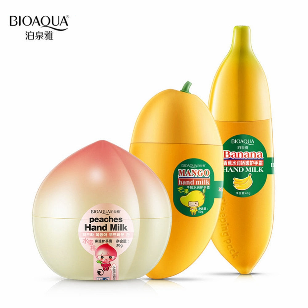 Bioaqua 3pcs Cute Milk Peaches Banana Mango Anti-aging Moisturizing Hydrating Hand Cream Hand Care Nourishing Hand Lotion