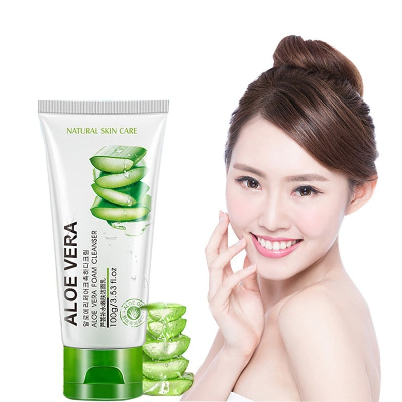 100g Facial Cleanser Moisturizing Soothing & Moisture Aloe Vera Cleansing Gel Foam Hydrating Whitening Oil Control