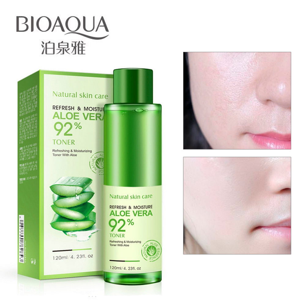 BIOAQUA Natural Aloe Vera Gel Toner Plants Essence Skin Care Moist Hydrating Vintamin C Gel Whitening Skin Toner 120ml