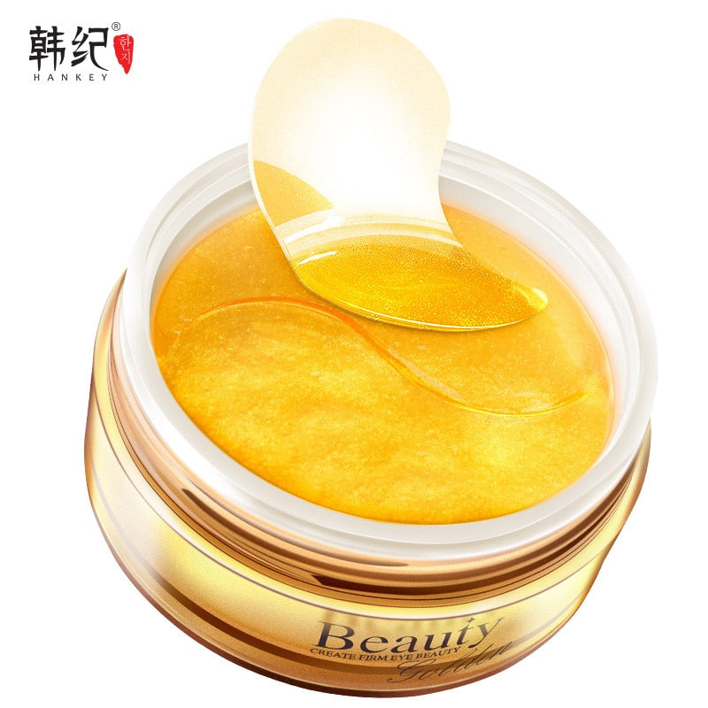 60pcs Gold Collagen Eye Mask Hyaluronic Acid Eye Patch Under the Eyes Anti Stripe Ageless Facial Treatment Korean Cosmetics